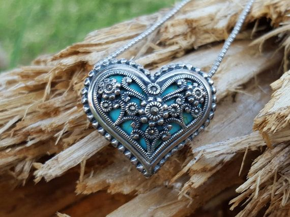 Heart Pendent in Turquoise Silver and by BlingThingsJewlery