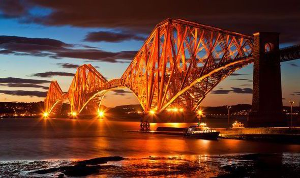 The Forth Bridge (UNESCO World Heritage Site), Scotland - connects Scotland's capital city Edinburgh with Fife