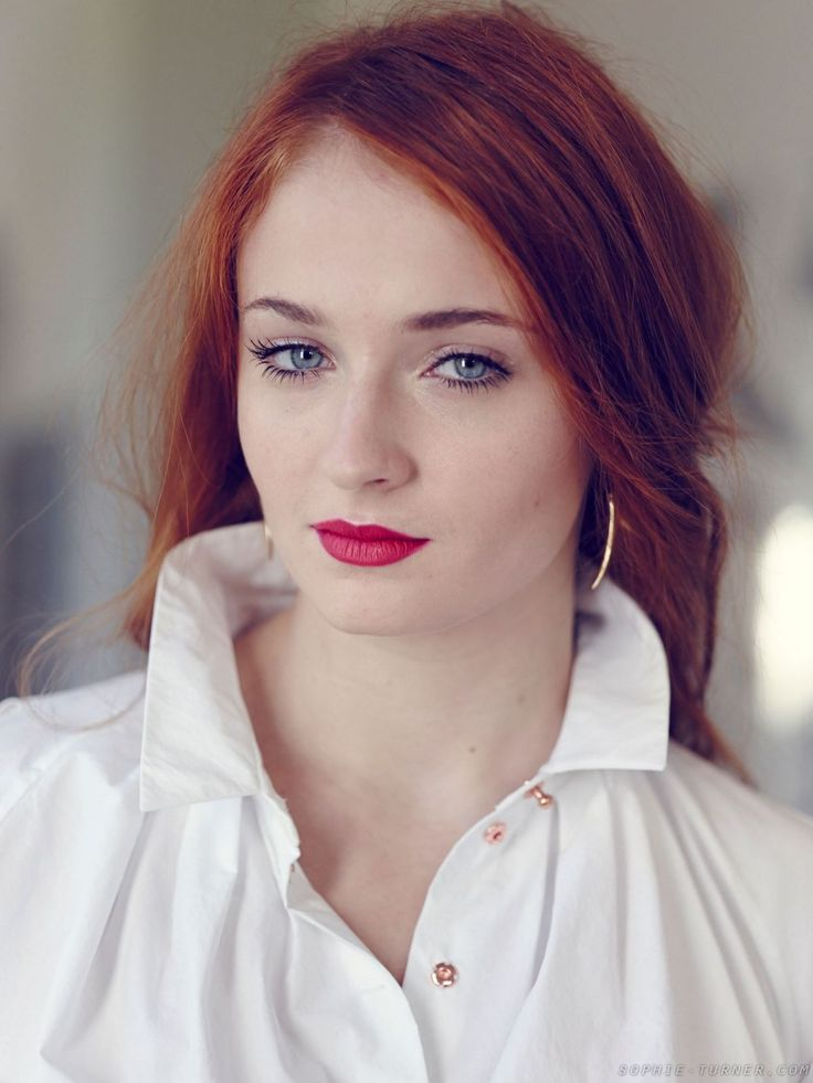 SOPHIE TURNER for Tatler Magazine, March 2014 Issue Rocking the pink lipstick with red hair