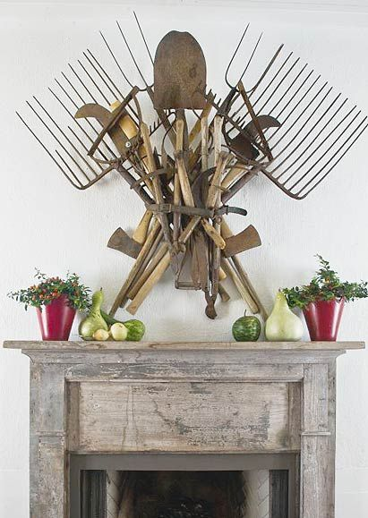 Farm Chic Wall Art using old and antique garden tools.  From P. Allen Smith Garden Home