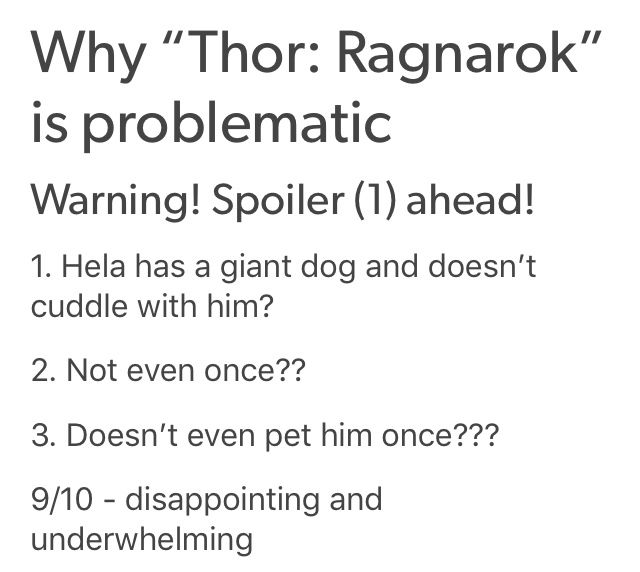 OMG, YES. I mean there were other problems, but that's a big one. #thorragnarok
