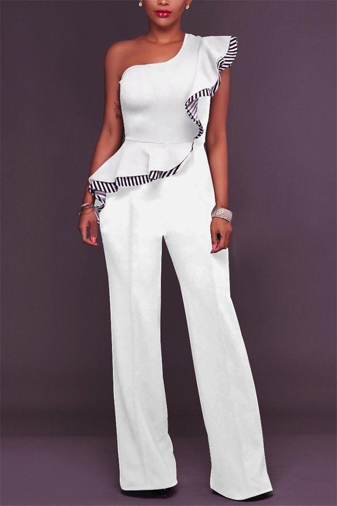 0e8567165 $29.99 All-in-One Black One Shoulder Ruffle White Stripe Trim Jumpsuit # jumpsuit