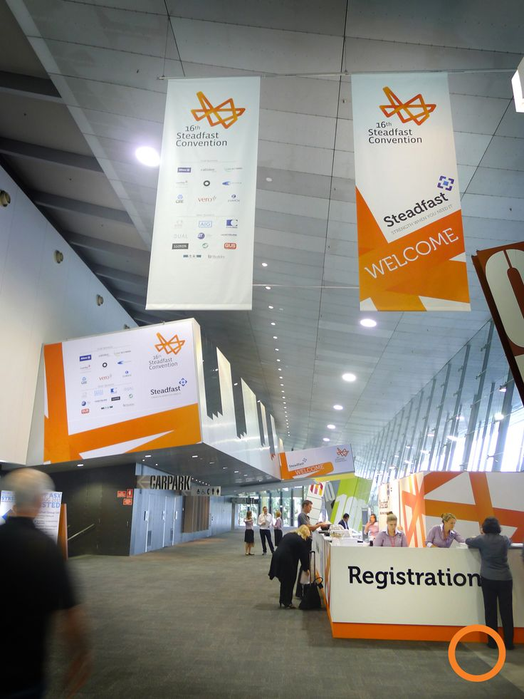 ExpoNet build the Steadfast 2014 Registration and venue branding with hanging banners and stretched fabric signage at the Melbourne Exhibition Centre