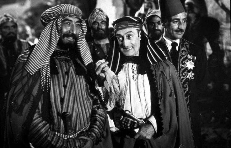 "Cesare Polacco, Totò (Antonio De Curtis) and Mario Castellani in Mario Mattoli's ""Totò sceicco"" (Italian title: ""Totò Sheik"", 1950)."