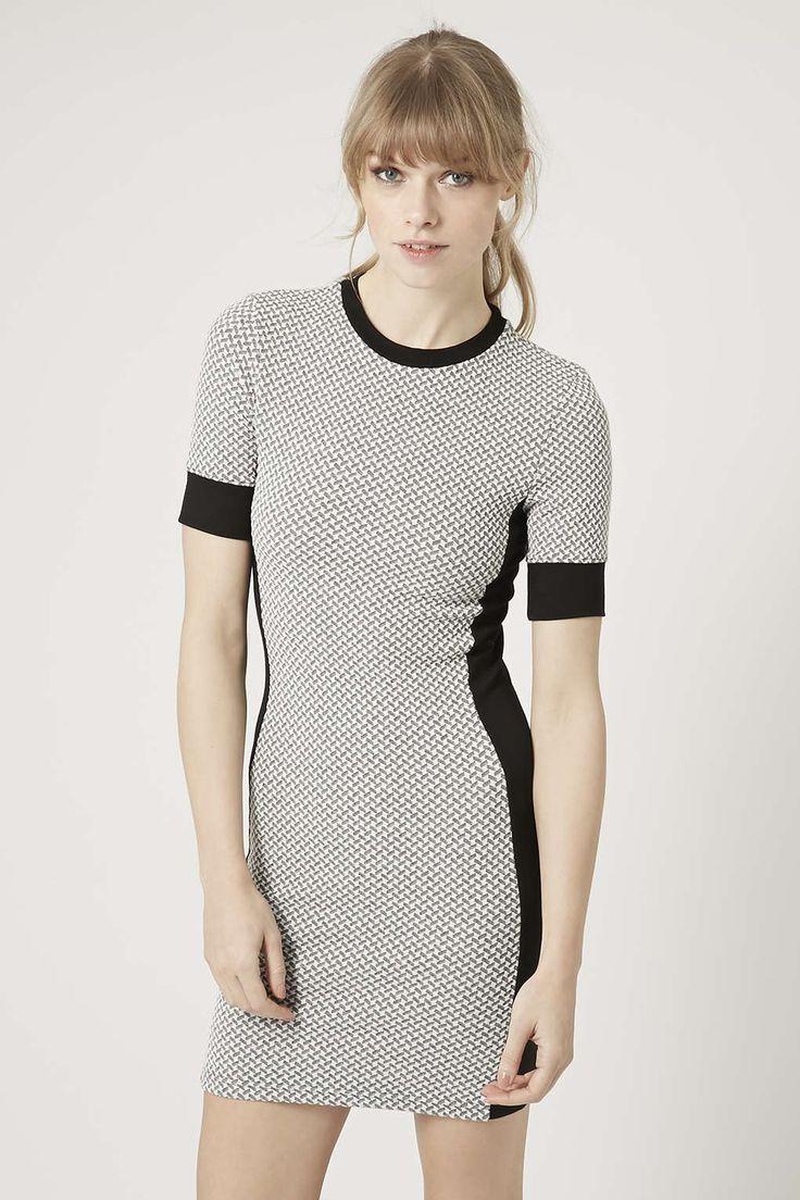 Black and white geometric panel scuba dress forever