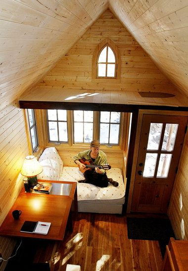 Wooden loft.Tiny Homes, The Loft, Windows Seats, Tiny Houses, Living Room, Small Spaces Living, Small Home, Loft Spaces, Small House