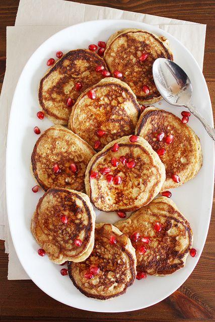 Whole Wheat Lemon Ricotta Pancakes with Pomegranate Syrup
