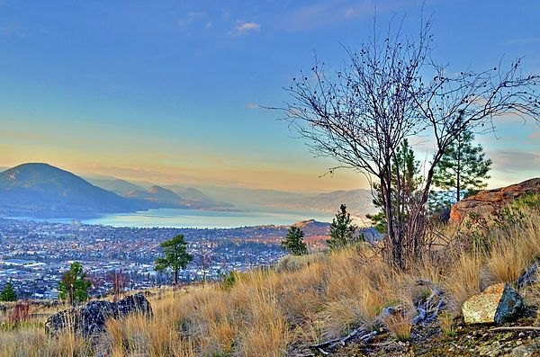 View of Penticton and Okanagan Lake from Wiltse Mountain, Okanagan Valley BC Canada