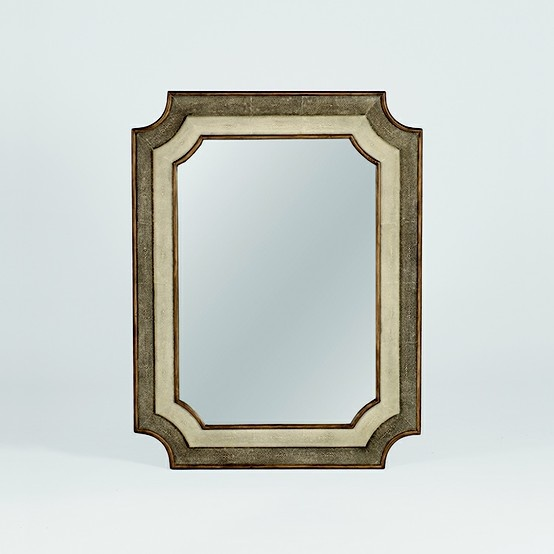 Gabby Home - The Yardley Mirror in white and shagreen has scalloped corner details.   Showroom: IHFC Interhall 408   #hpmkt