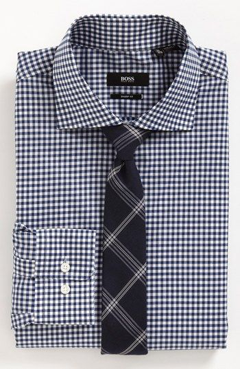 BOSS Black Dress Shirt & Tie  available at #Nordstrom