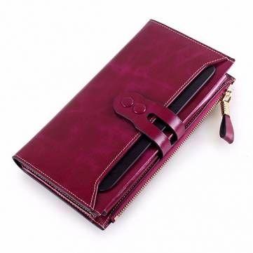Women Elegant Long Wallet Ladies Vintage Casual Zipper Large Capacity Purse