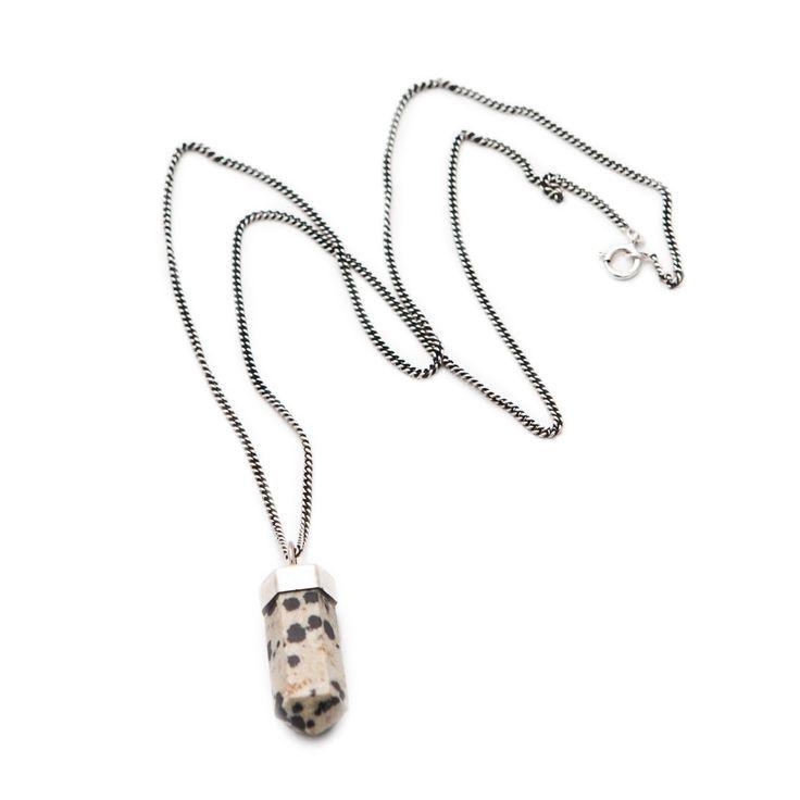Fashionology - Fashionology Sterling Silver Tiny Dalmatian Jasper Casing Necklace