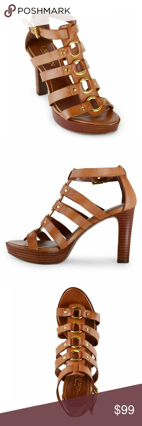 New! Ralph Lauren Ring Leather Platform Sandals With a gladiator design, this sandal from Ralph Lauren, has a timeless style. The ring detail makes the classic look stunning!  Brand New With Box   1-in. platform; 4-in. heel  Leather  Hand Wash ? Ralph Lauren  Shoes