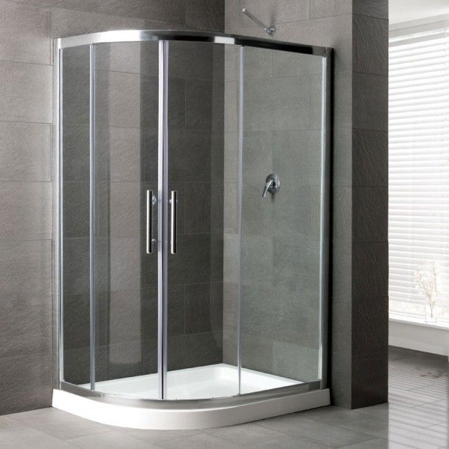 Camaro Corner Shower Enclosure: 1200 x 700mm LEFT HANDED Offset Curved Tray and Quadrant Enclosure Panels