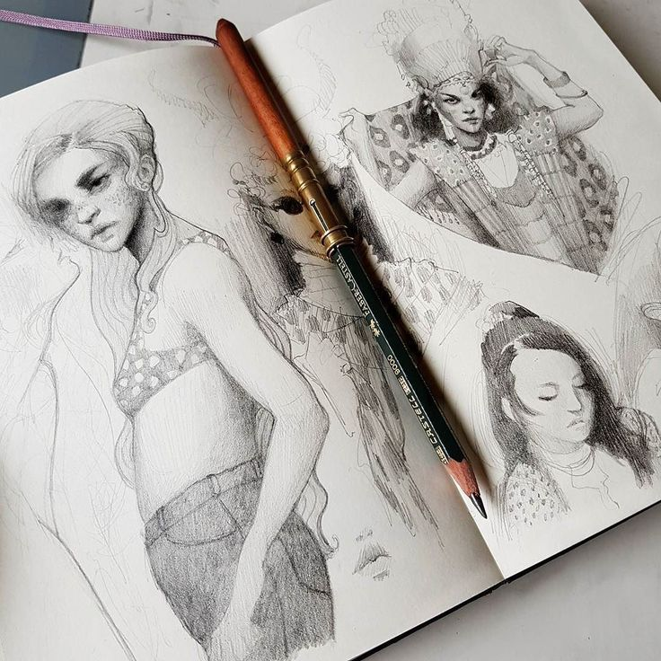 Are you fast with filling your sketchbooks? I allowed myself to just doodle in my sketchbook for a while yesterday after creating 4 entire pieces the last 4 weeks. Felt very good. Now getting some coffee and on to the next thing . #sketchbookaction #sketchbook #sketch #pencildrawing #doodle #ideas #creation #draw #pattern #ladies #sundaymood #doitfortheprocess #artistsoninstagram #instaart #instaartist #stuttgart #skizzenbuch #bleistift #zeichnung