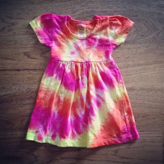 Tie Dye Baby Dress - Handmade - Spiral Tie Dye - 100% Cotton