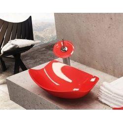 Üveg mosdó vörös 71037