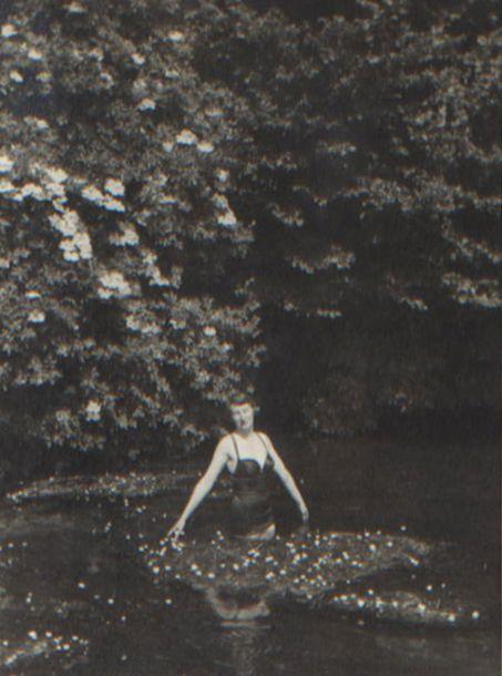 Ursula Longstaff Longstaff swimming under the elderflower blossom