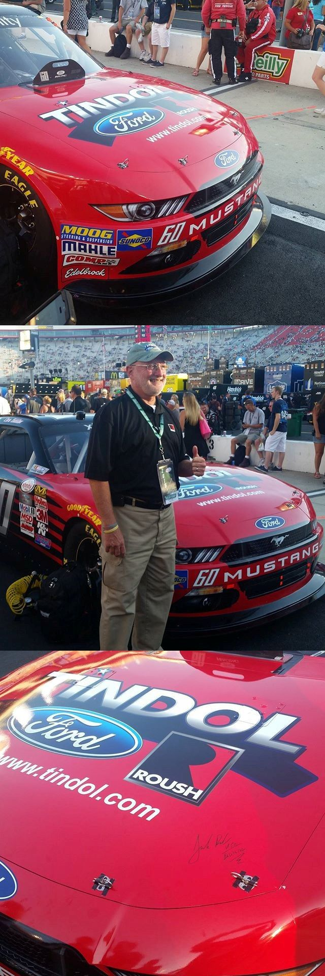 Tindol Ford ROUSH on the hood of Chris Buescher's #60 ROUSH Fenway Racing Mustang at Bristol Motor Speedway Food City 300! #ROUSH #Tindol #Mustang http://tindolford.com/custom/roush-mustang-for-sale
