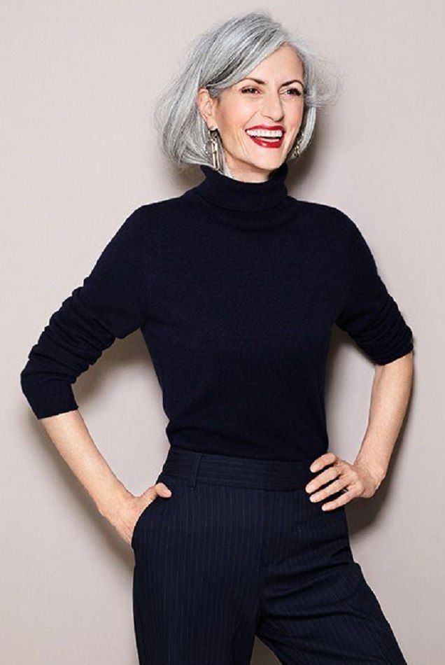 Grey hair, black outfit and red lip.  Looks hot.