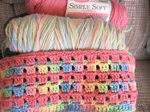 From a box of scrap yarns donated to me by a friend