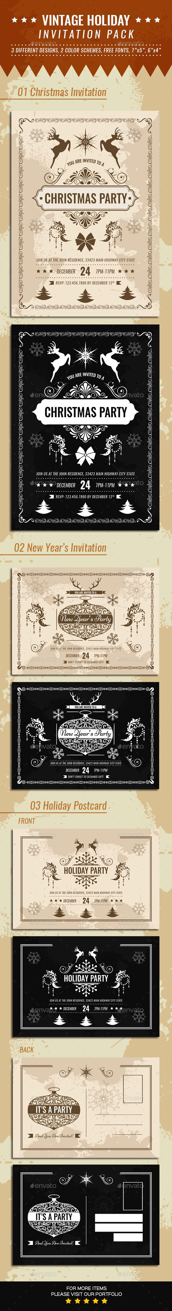 Vintage Holiday Invitation Pack 672 best Invitation
