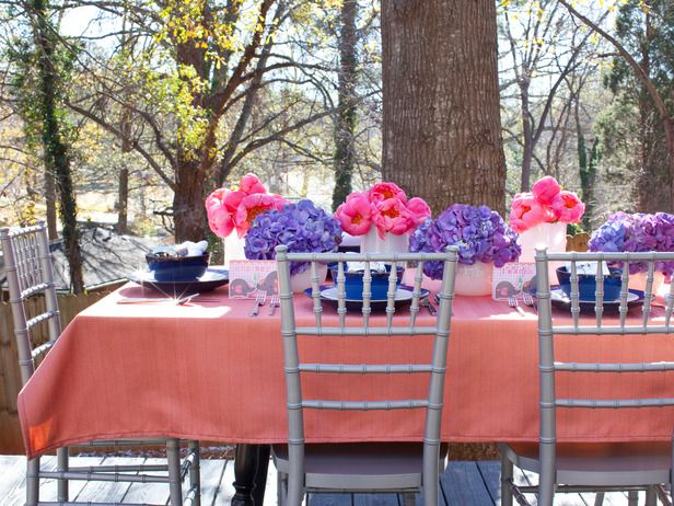 A coral, navy, white and silver palette is a great fit for both baby and bridal showers.