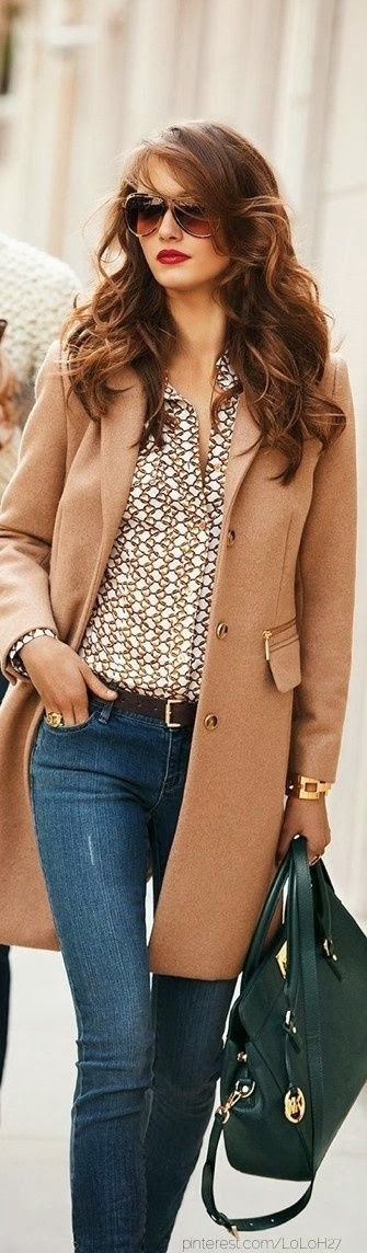 Style fashion clothing outfit women brown coat sunglasses shirts blue jeans black handbag belt watch bracelet winter