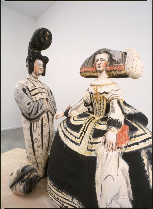 Left: 'Empress' (2003) by Japanese born, Seattle based ceramic sculptor Akio Takamori (b.1950). Hand-built, stoneware, 53 x 23 x 17 in. Right: 'Queen' (2003), Hand-built, stoneware, 42 x 32 x 17 in. via James Harris Gallery