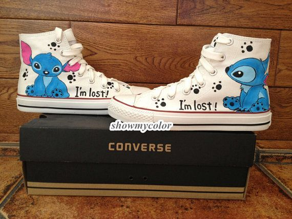 Stitch anime Custom Converse, Lilo and Stitch hand painted shoes, high top Shoes. on Etsy, $68.99