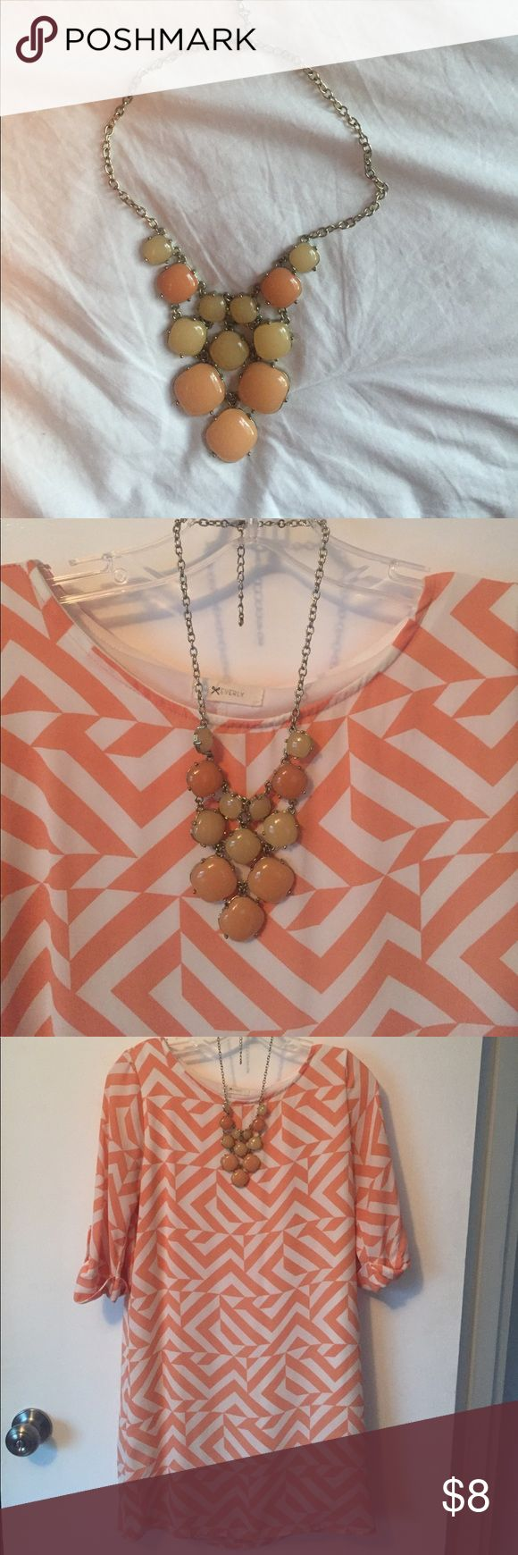 Coral bubble necklace Coral bubble necklace. Good condition! Would look great with the coral chevron dress if you choose to bundle. Jewelry Necklaces