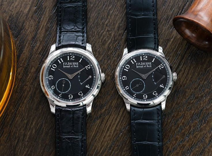Two rare birds of a feather in 40mm and 38mm respectively. The Chronomètre Souverain is quintessentially an F.P Journe in both its design language and movement. Housed in a classical 40mm dress watch case it is made distinctive by the @fpjourneofficial signature flat crown with a rope-like pattern. Both blackdials are engine-turned in the centre with a hobnail Clous de Paris pattern while the outer track holds the white embossed decorative Arabic numerals. The signature hands form a nice…