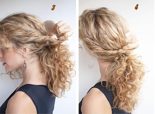 cheveux bouclés   Coiffure simple et facile - Part 2