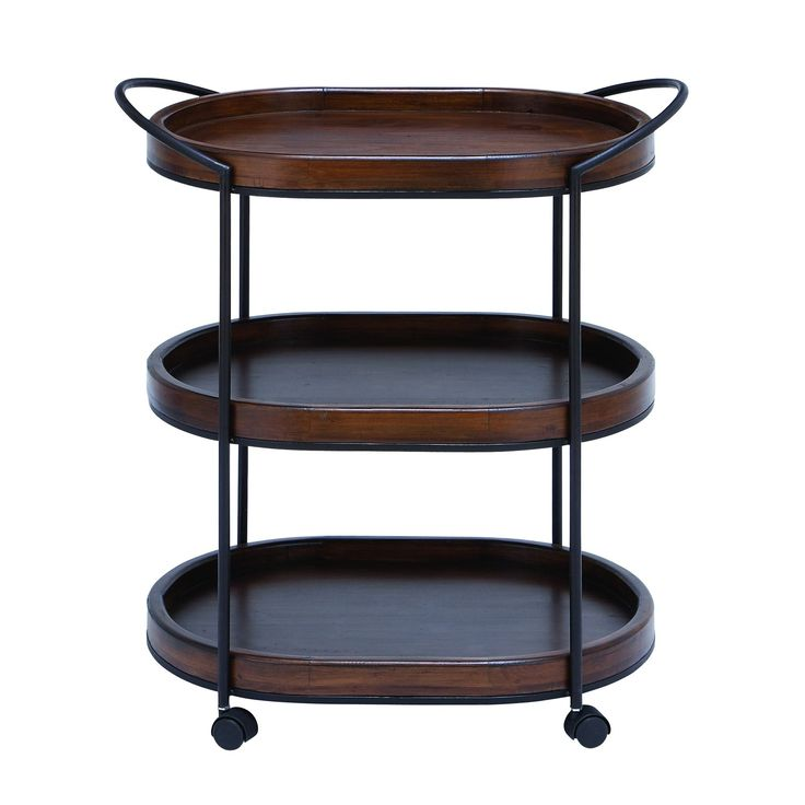 Woodland Imports 50469 Metal Wooden 3 Tier Tray In Dark/Natural Wood