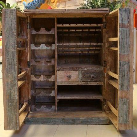 New Rustic Wood Bar Cabinet