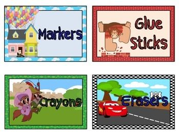 Organize your classroom with these Disney Movie themed classroom labels. Includes 9 premade labels for glue sticks, crayons, markers, sharpened pencils, dull pencils, highlighters, and scissors, but also includes blank labels for you to print and write on.