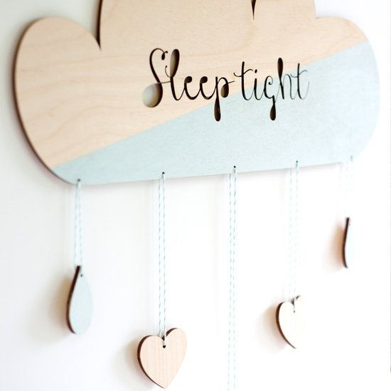 Puurrr houten babykamer Mobiel Wolk Mint, Sleep Tight.