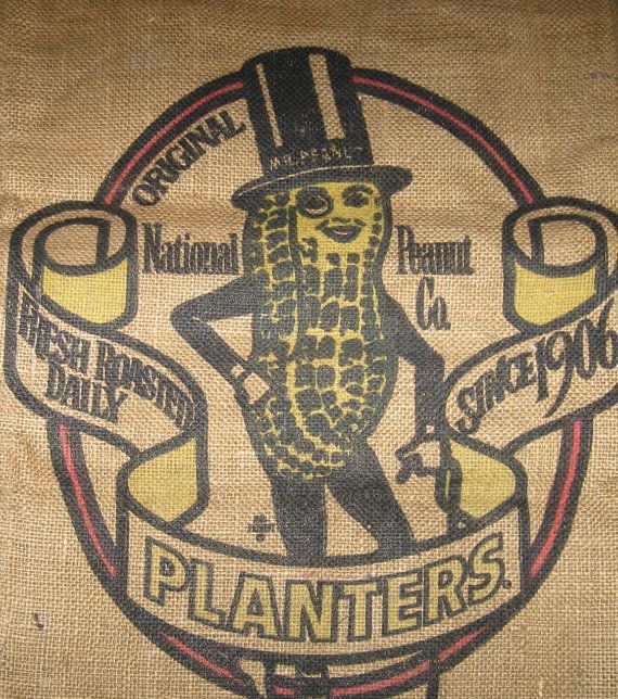 Burlap Bag Sack Novelty Planters Peanuts Tote via Etsy