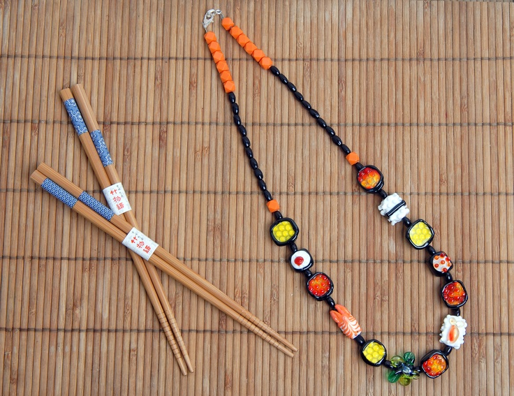 handmade sushi glass bead necklace..Sushi Necklaces, Beads Necklaces, Handmade Sushi, Sushi Glasses