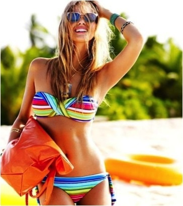Beach Bound Babe: Your Essential Survival Kit:  Two-Piec, Headband, Style, Swimsuits, Summer Stripes, Bath Suits, Summer Bikinis, Bright Colors, Swim Suits