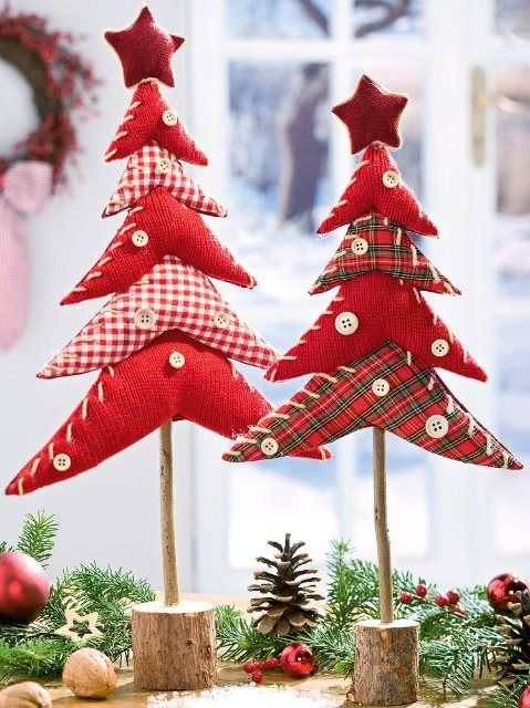 //Xmas trees made with different prints, then stuffed & stacked