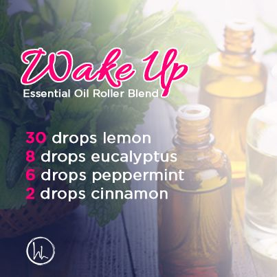"""Good morning! It's the weekend! Time to get up, get out and get stuff done. Mix up this great roller blend to invigorate your senses. All you need is a 10 mL glass roller bottle, a carrier oil of your choice (fractionated coconut oil, almond or avocado oil), 30 drops lemon oil, 8 drops eucalyptus oil, 6 drops peppermint oil and 2 drops cinnamon oil. Add all essential oils to the glass roller bottle and then top off with the carrier oil. This will surely """"wake you up""""! www.hayleyhobson.com"""