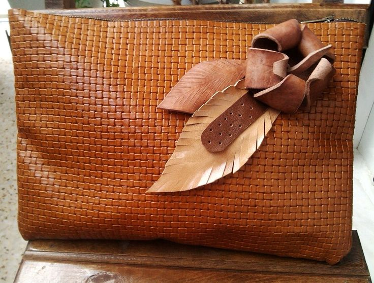 Basket Weave Tan Leather Shoulder Bag with 3D flower & leaves