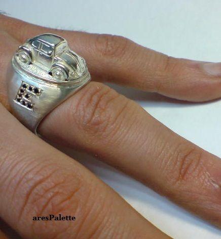 #vw #vwcampervantent #volkswagen #silverring #carjewelry http://Customized Volkswagen Beetle Ring – 925 Silver Handmade VW Jewellery