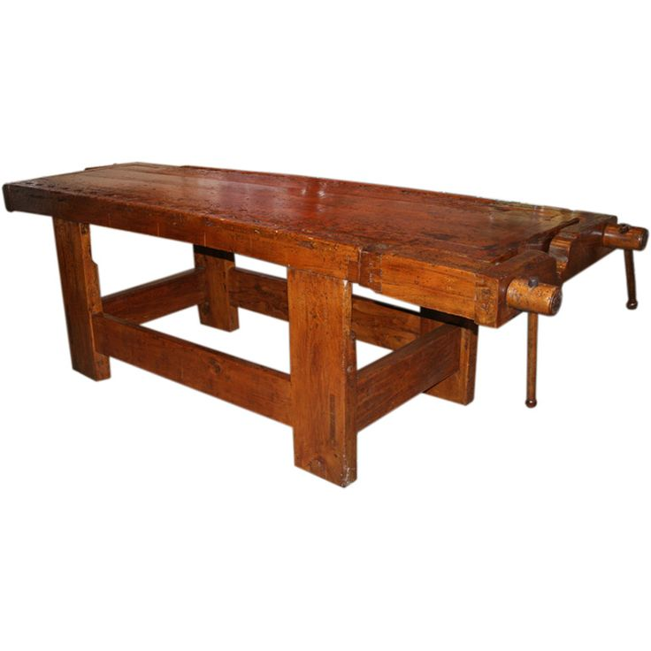 1920s Italian Wooden Carpenteru0027s Bench With Three Working Vices