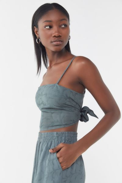 84abd435 Urban Renewal Remnants Jacquard Tie-Back Cropped Tank Top | Urban Outfitters