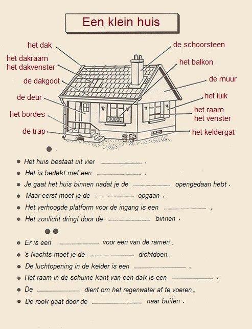 Woordenschat : een klein huis + vul in.