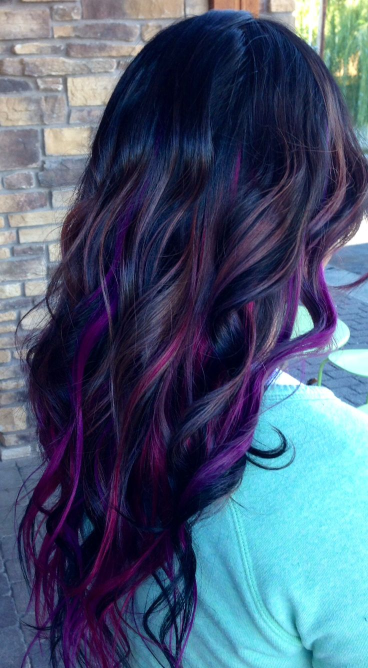 Hair and makeup designs done by Jaidyn Perkins. Purple balayage ombré and hair extensions
