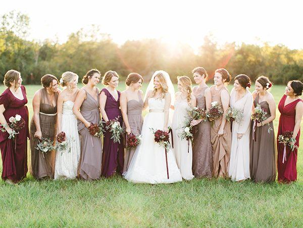 prettiest mix of fall bridesmaid dresses | Kristen Kilpatrick