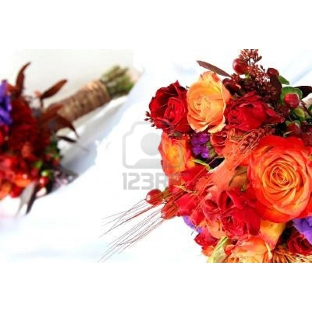 Wedding Flowers orange and red
